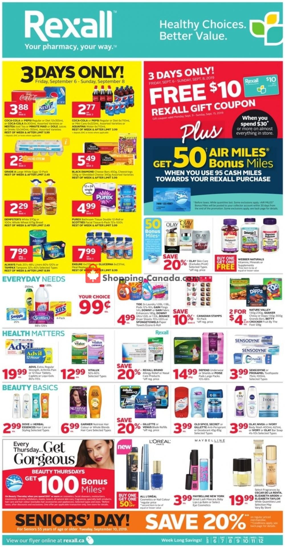 Flyer Rexall Drug Store Canada - from Friday September 6, 2019 to Thursday September 12, 2019
