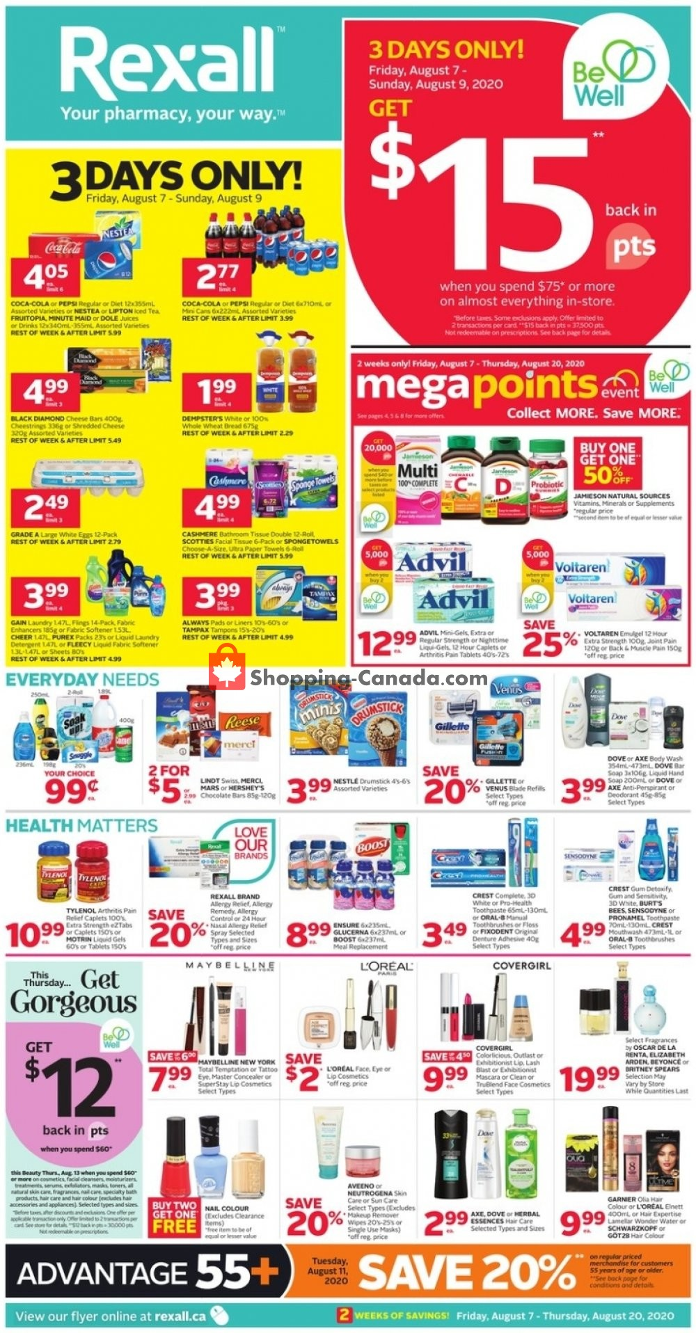 Flyer Rexall Drug Store Canada - from Friday August 7, 2020 to Thursday August 13, 2020