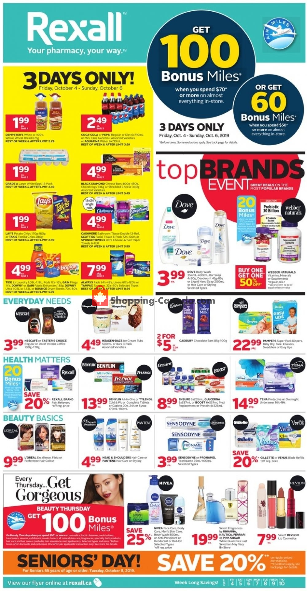 Flyer Rexall Drug Store Canada - from Friday October 4, 2019 to Thursday October 10, 2019