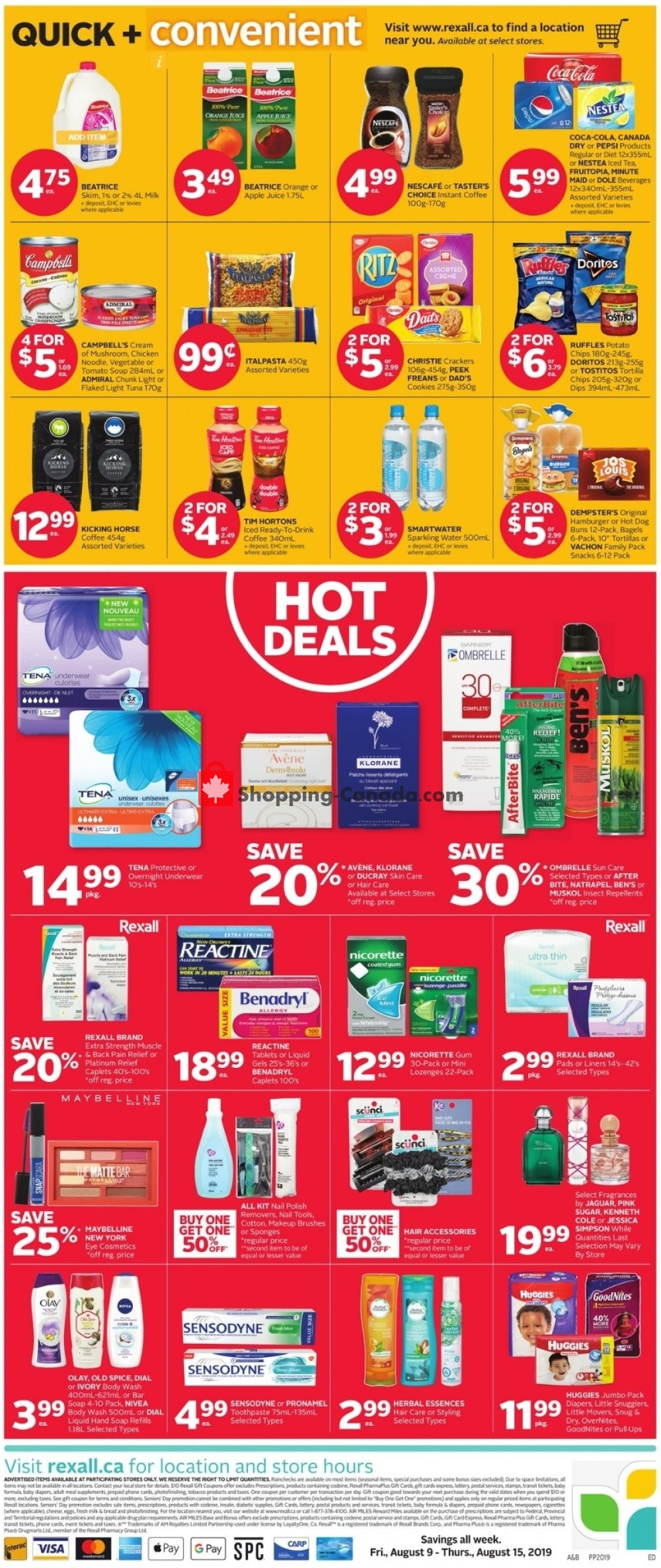 Flyer Rexall Drug Store Canada - from Friday August 9, 2019 to Thursday August 15, 2019