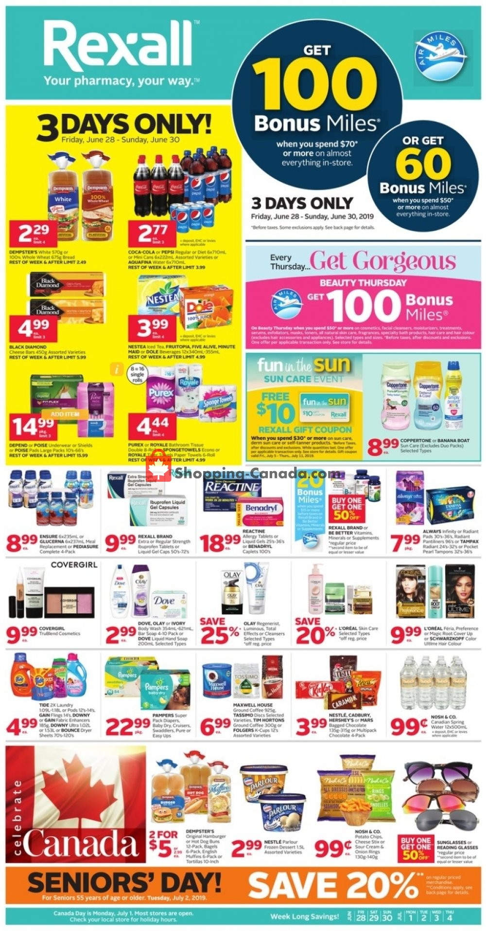 Flyer Rexall Drug Store Canada - from Friday June 28, 2019 to Thursday July 4, 2019