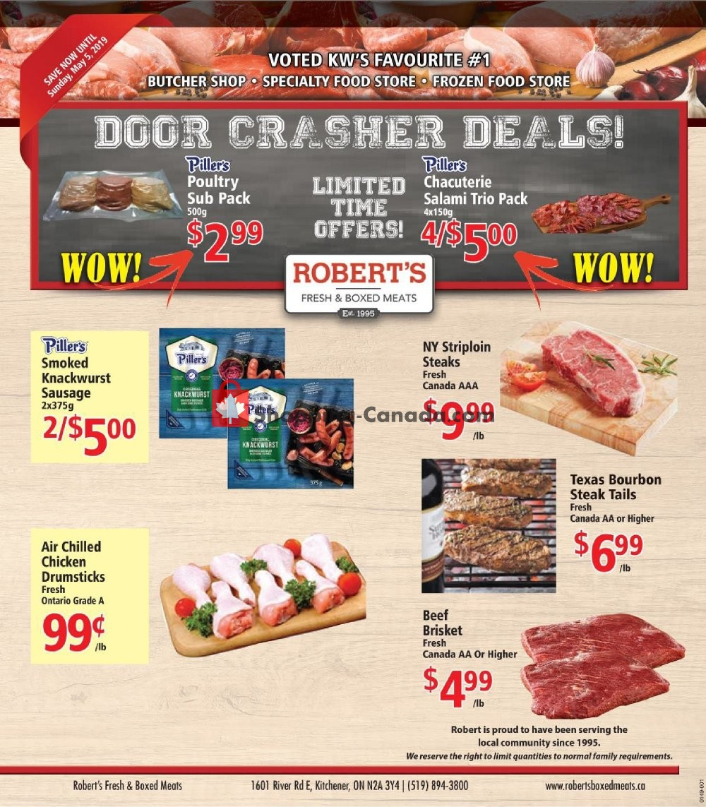 Flyer Robert's Fresh and Boxed Meats Canada - from Thursday April 25, 2019 to Sunday May 5, 2019
