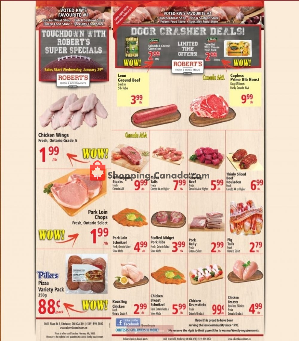 Flyer Robert's Fresh and Boxed Meats Canada - from Monday February 3, 2020 to Tuesday February 4, 2020