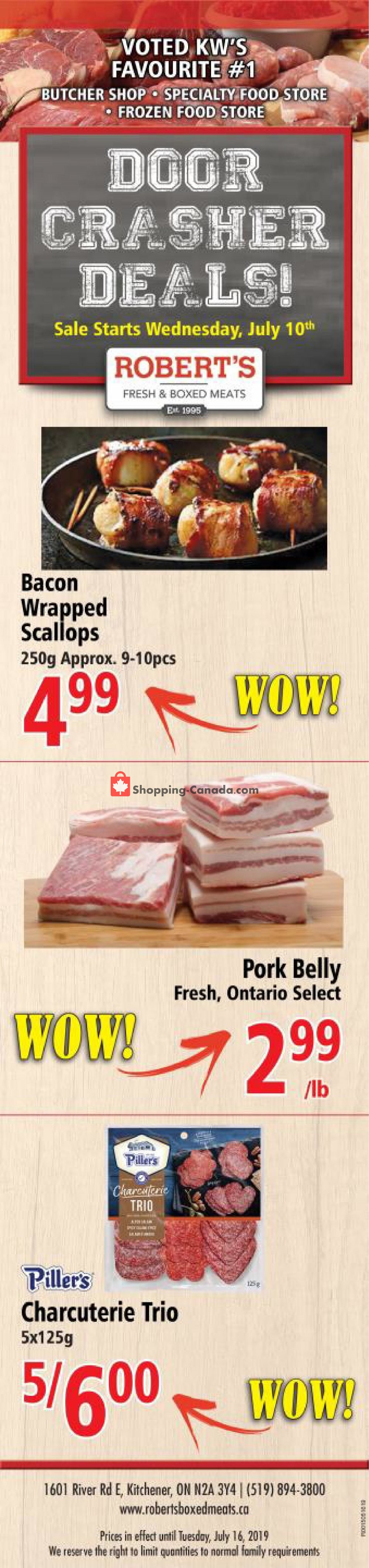 Flyer Robert's Fresh and Boxed Meats Canada - from Wednesday July 10, 2019 to Tuesday July 16, 2019