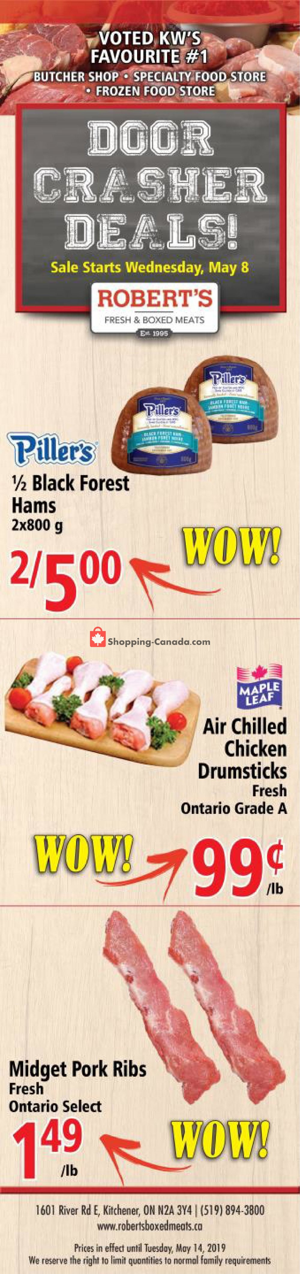 Flyer Robert's Fresh and Boxed Meats Canada - from Wednesday May 8, 2019 to Tuesday May 14, 2019