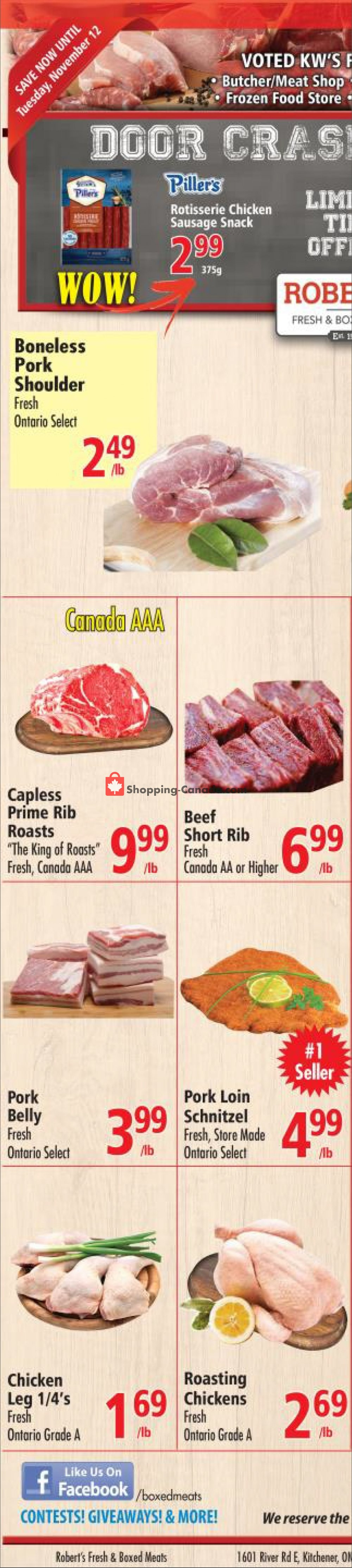 Flyer Robert's Fresh and Boxed Meats Canada - from Wednesday November 6, 2019 to Tuesday November 12, 2019