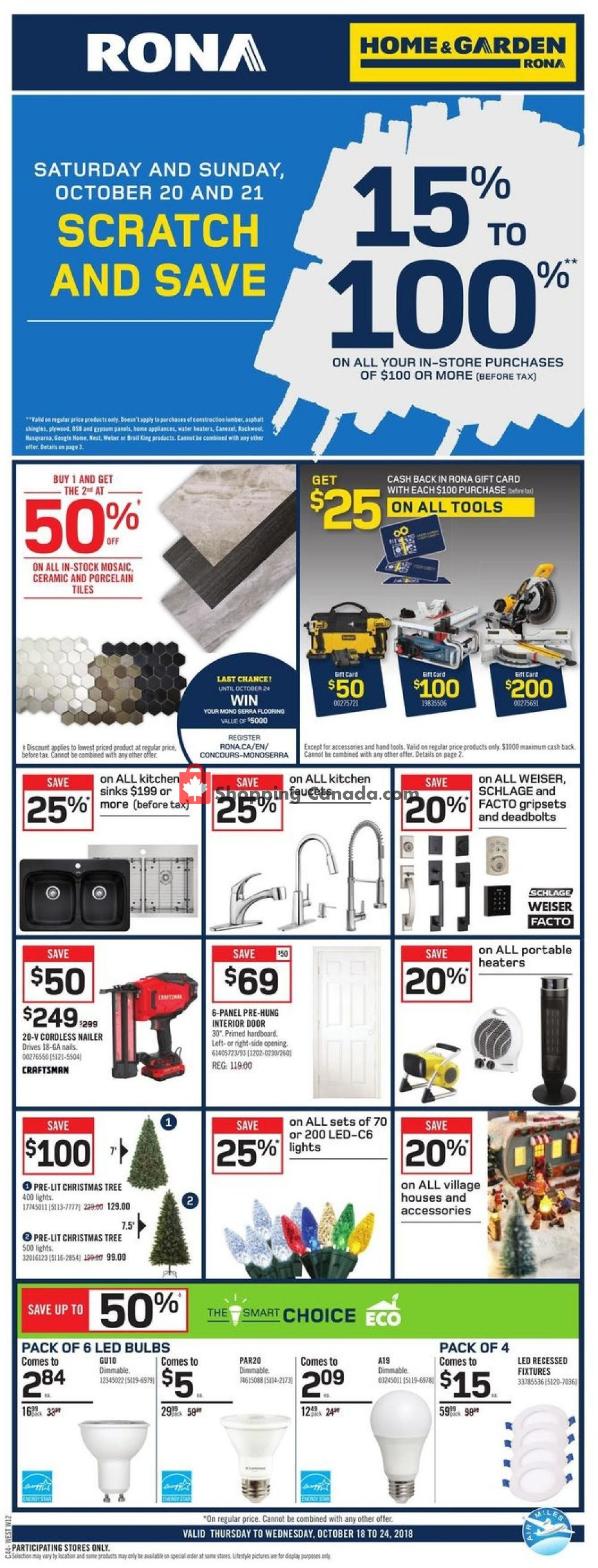 Flyer Rona Canada - from Thursday October 18, 2018 to Wednesday October 24, 2018