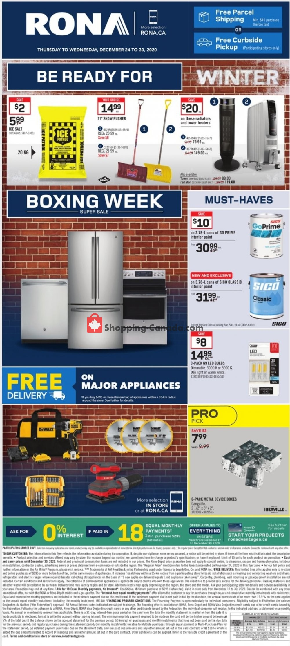 Flyer Rona Canada - from Thursday December 24, 2020 to Wednesday December 30, 2020