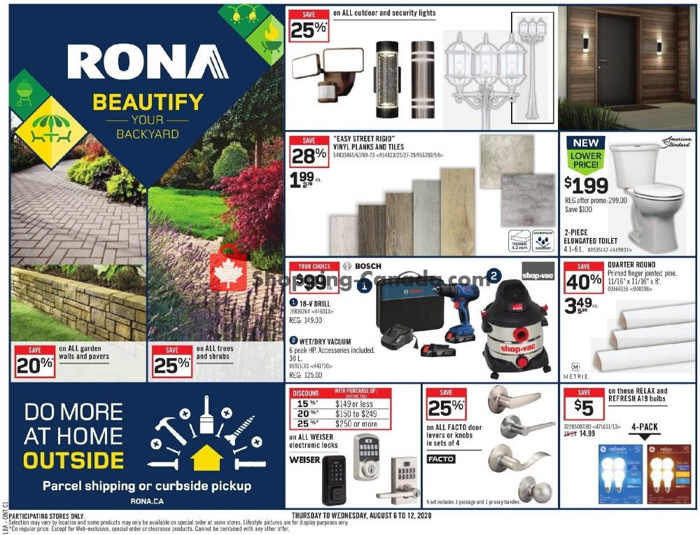 Flyer Rona Canada - from Thursday August 6, 2020 to Wednesday August 12, 2020