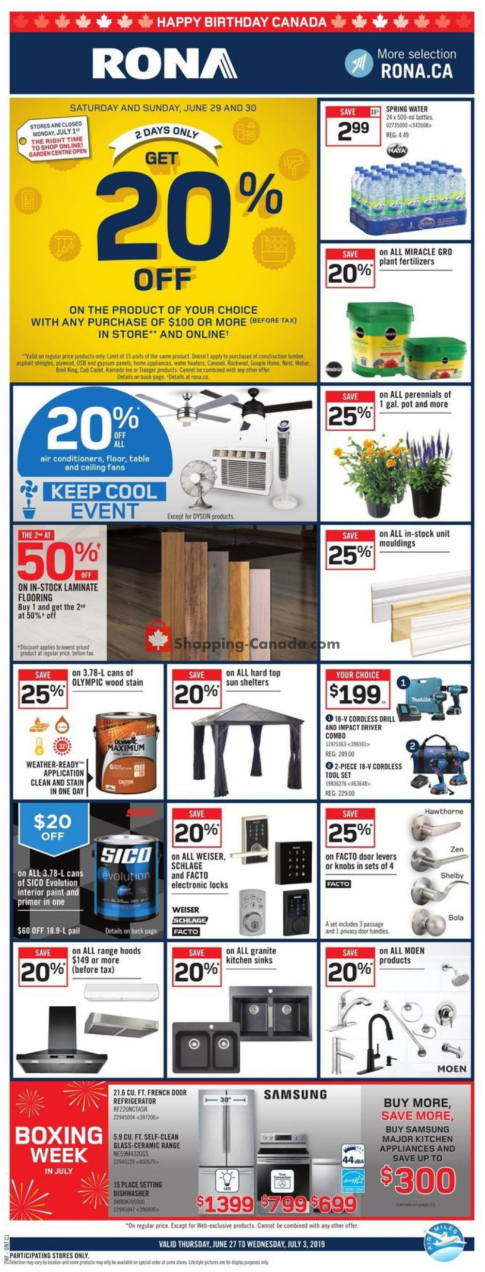 Flyer Rona Canada - from Thursday June 27, 2019 to Wednesday July 3, 2019