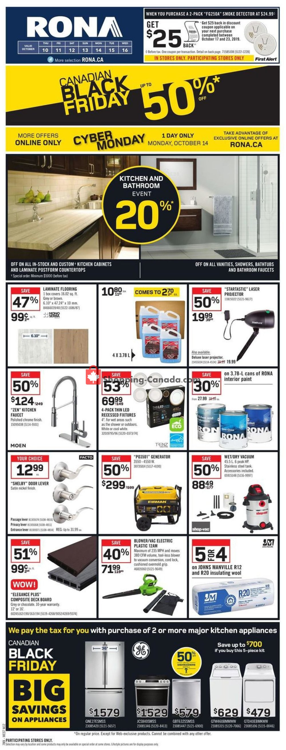 Flyer Rona Canada - from Thursday October 10, 2019 to Wednesday October 16, 2019