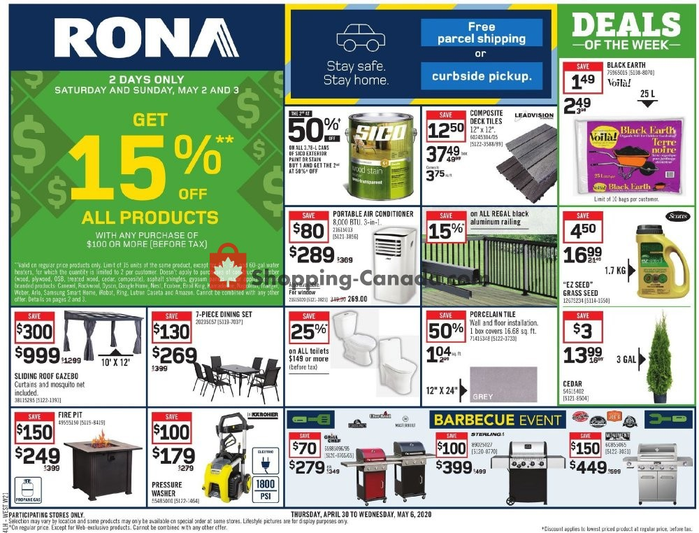 Flyer Rona Canada - from Thursday April 30, 2020 to Wednesday May 6, 2020