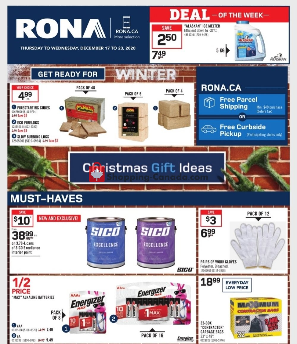 Flyer Rona Canada - from Thursday December 17, 2020 to Wednesday December 23, 2020