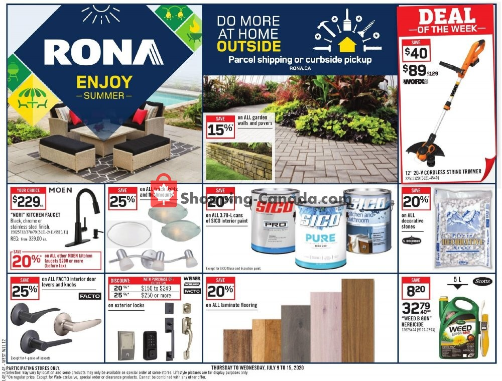 Flyer Rona Canada - from Thursday July 9, 2020 to Wednesday July 15, 2020