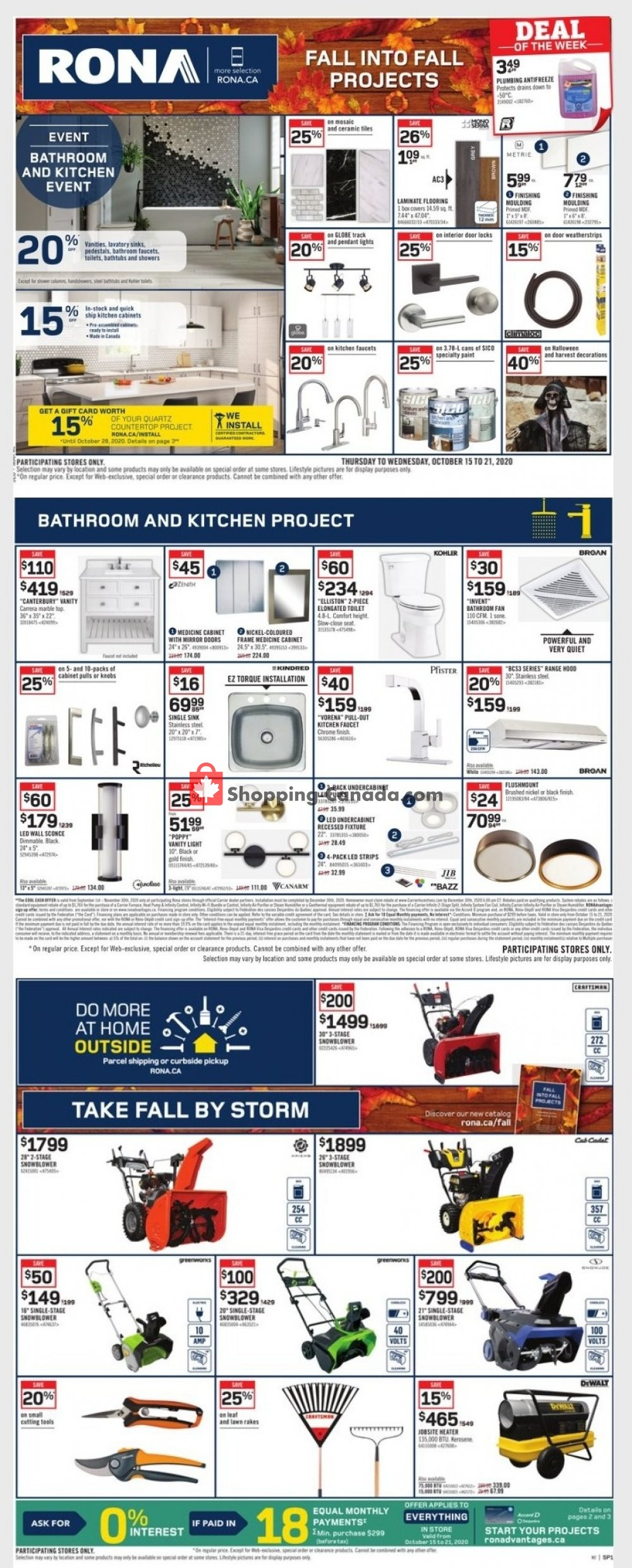 Flyer Rona Canada - from Thursday October 15, 2020 to Wednesday October 21, 2020