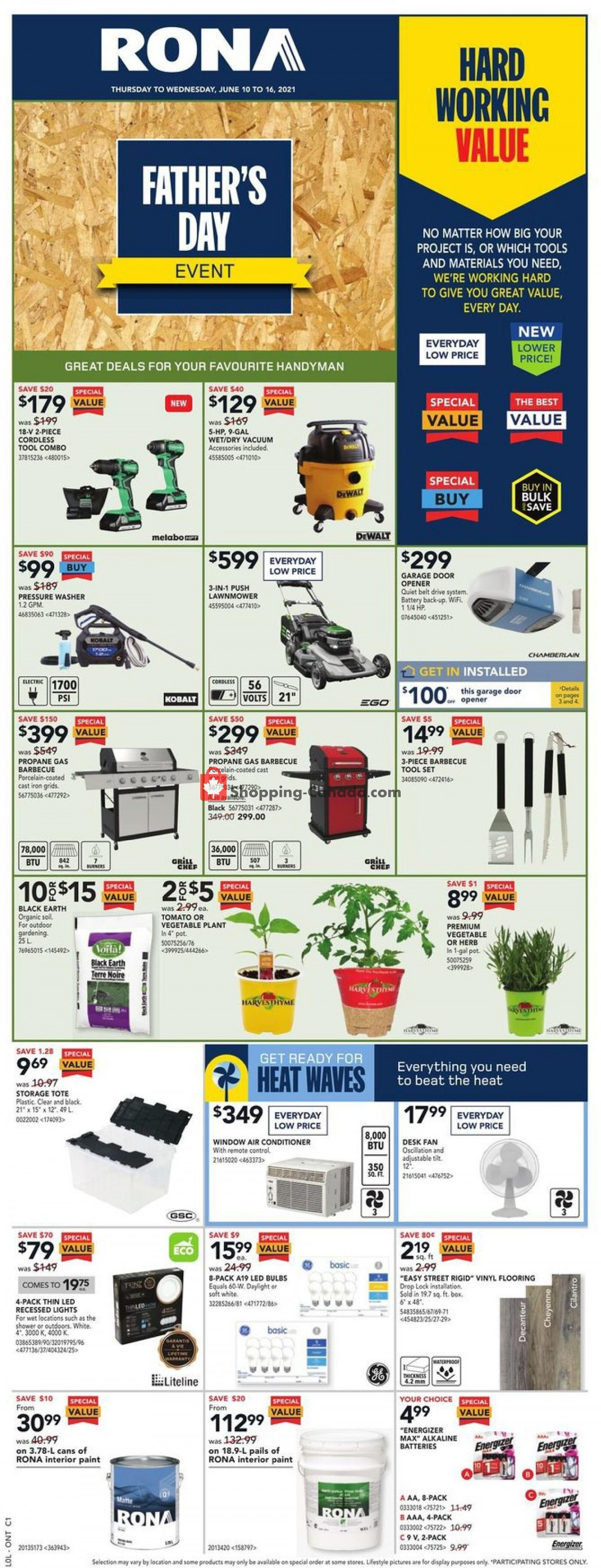 Flyer Rona Canada - from Thursday June 10, 2021 to Wednesday June 16, 2021