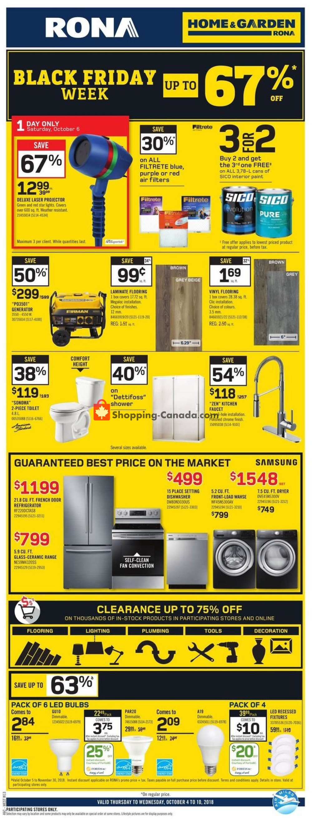 Flyer Rona Canada - from Thursday October 4, 2018 to Wednesday October 10, 2018