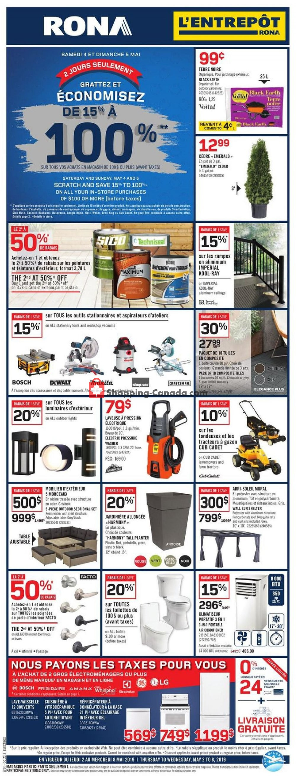 Flyer Rona Canada - from Thursday May 2, 2019 to Wednesday May 8, 2019