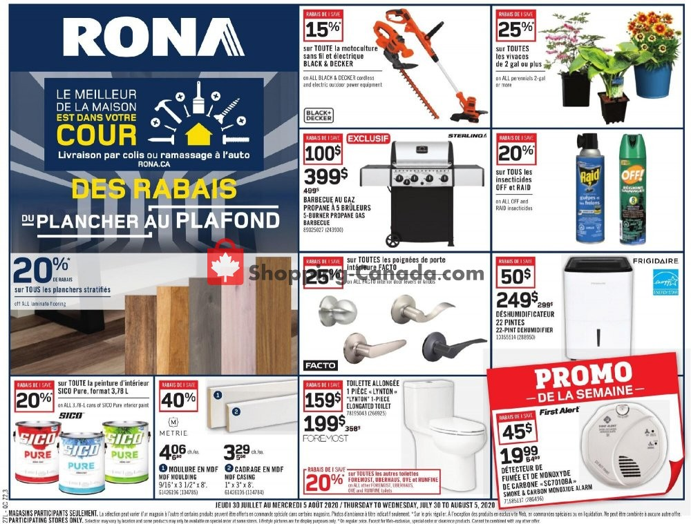 Flyer Rona Canada - from Thursday July 30, 2020 to Wednesday August 5, 2020