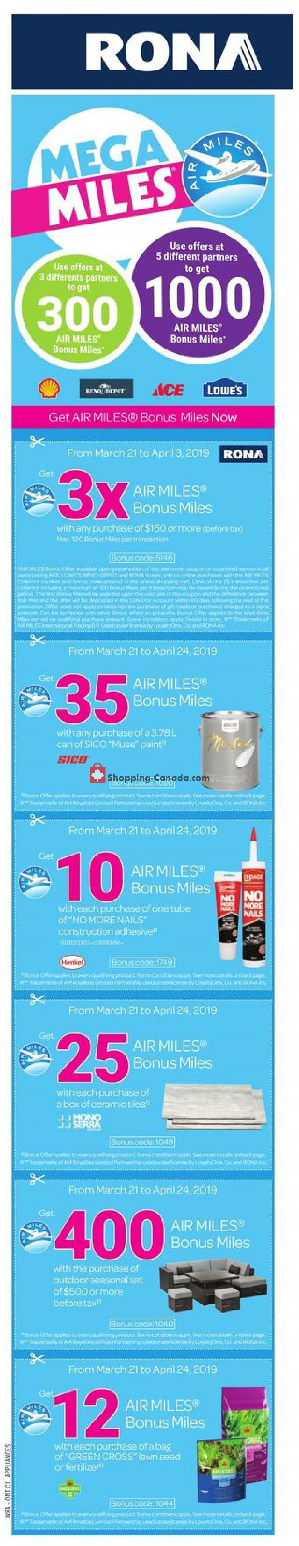 Flyer Rona Canada - from Thursday March 21, 2019 to Wednesday March 27, 2019