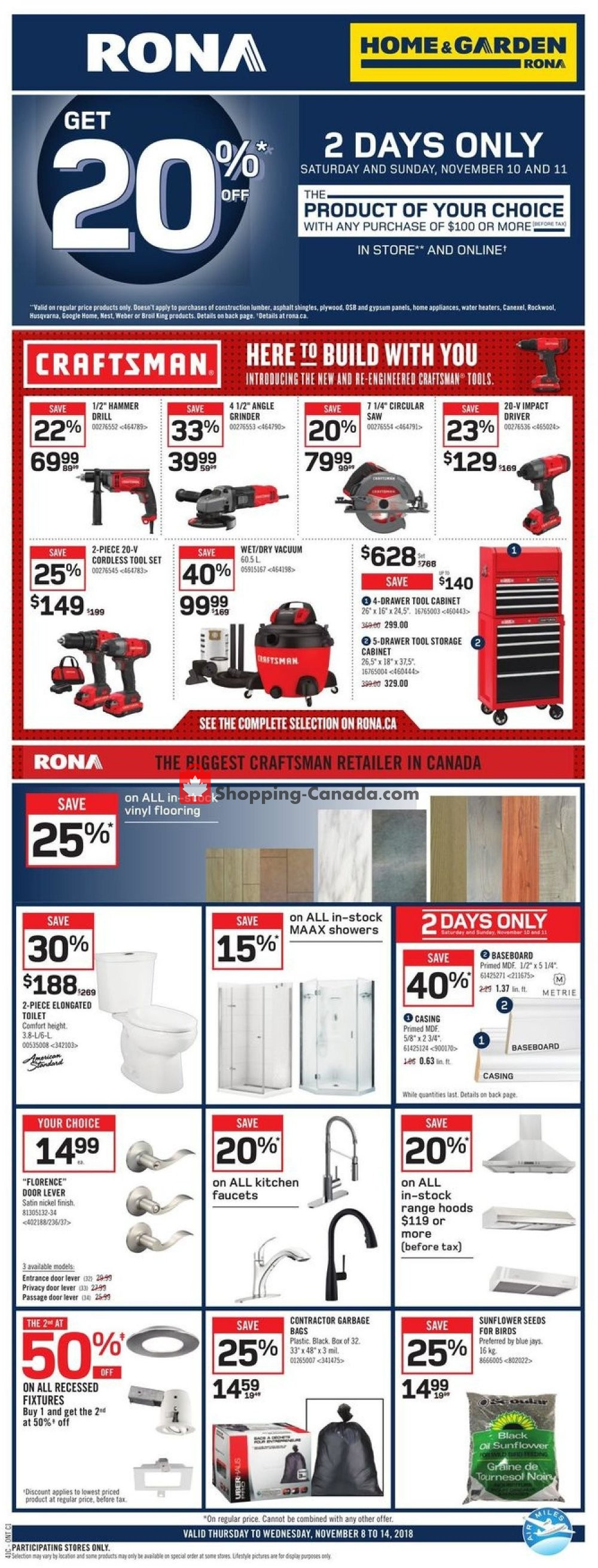 Flyer Rona Canada - from Thursday November 8, 2018 to Wednesday November 14, 2018