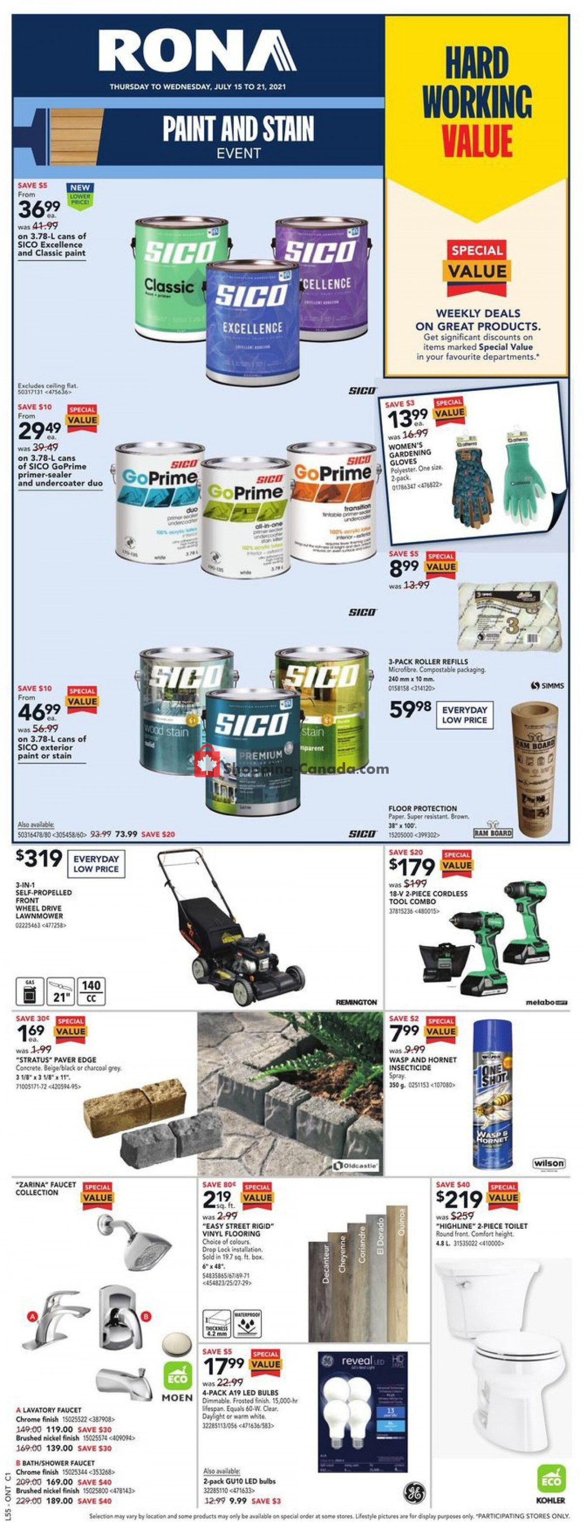Flyer Rona Canada - from Thursday July 15, 2021 to Wednesday July 21, 2021