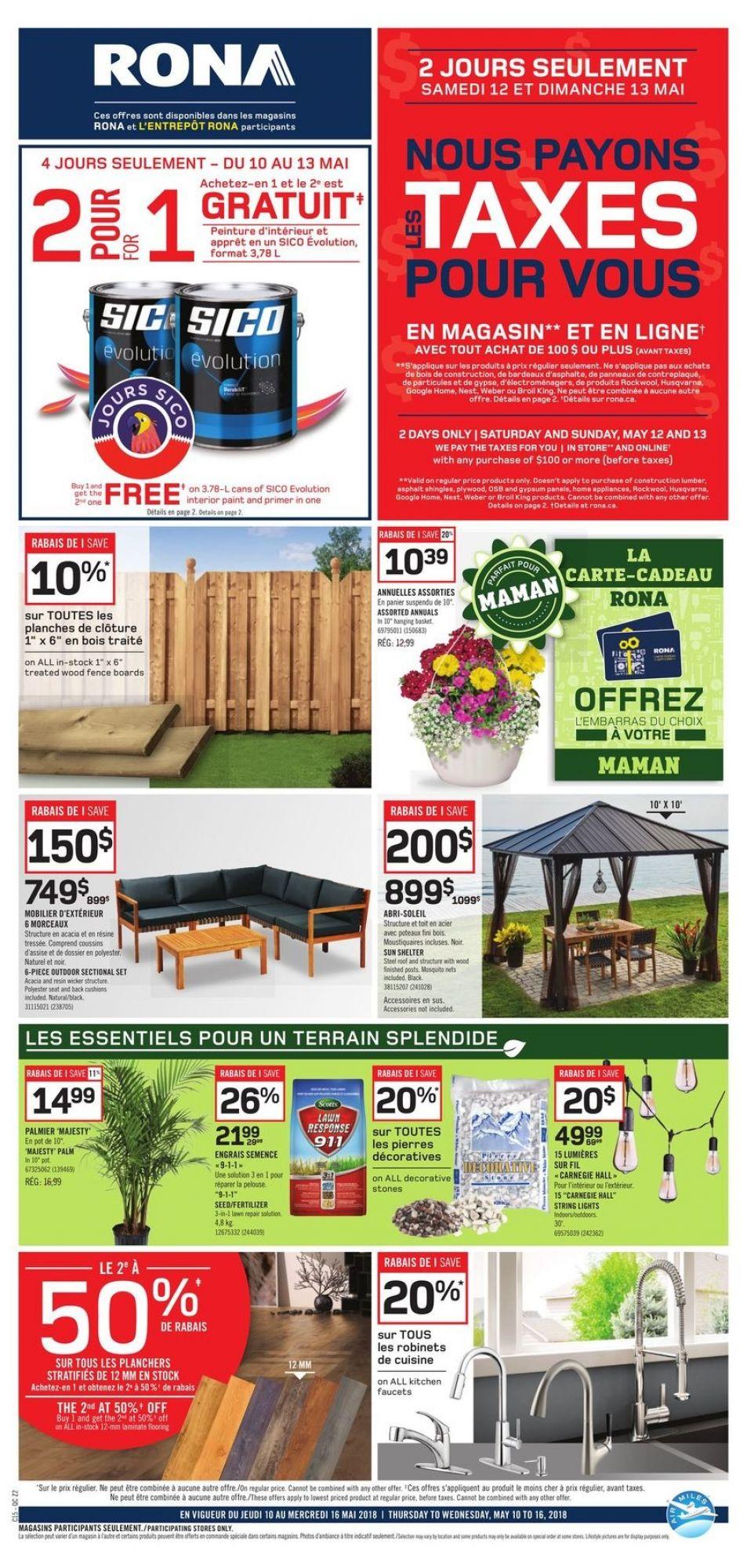 Flyer Rona Canada - from Thursday May 10, 2018 to Wednesday May 16, 2018