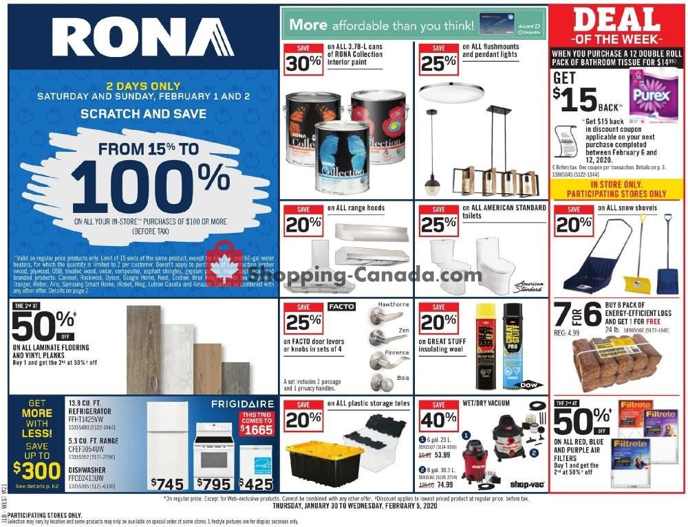 Flyer Rona Canada - from Thursday January 30, 2020 to Wednesday February 5, 2020