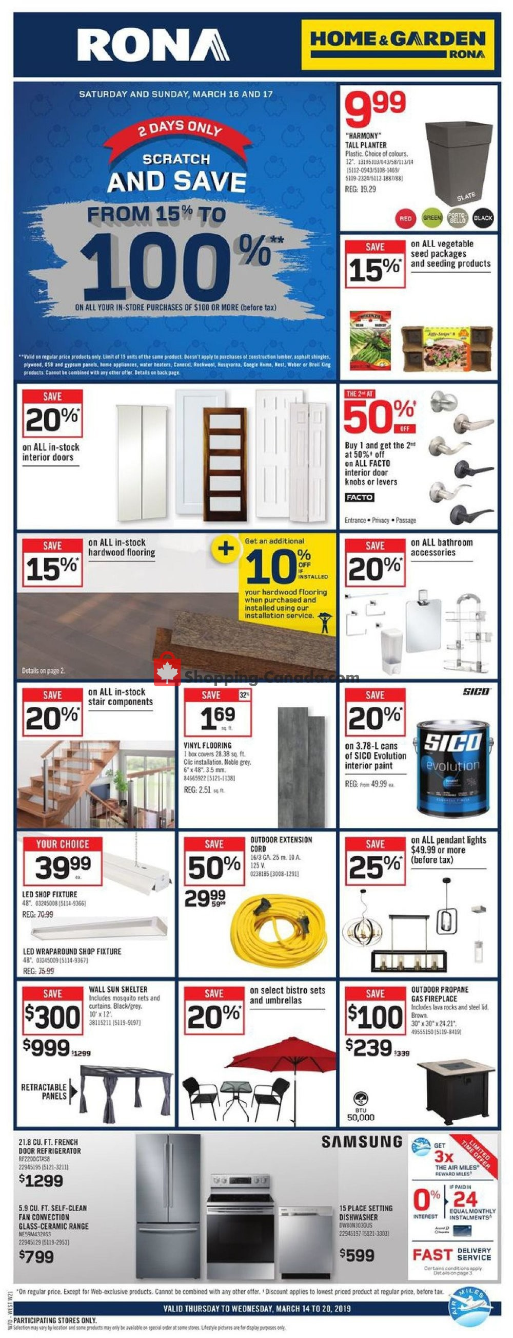 Flyer Rona Canada - from Thursday March 14, 2019 to Wednesday March 20, 2019