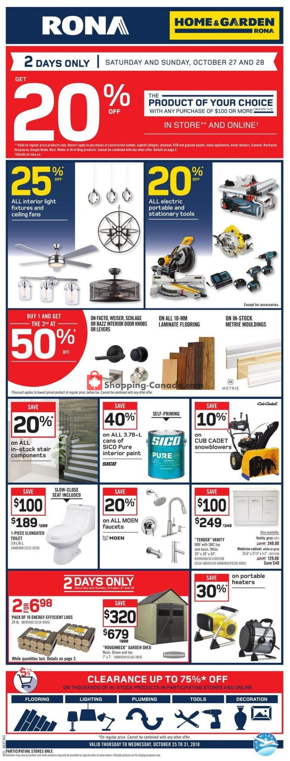 Flyer Rona Canada - from Thursday October 25, 2018 to Wednesday October 31, 2018