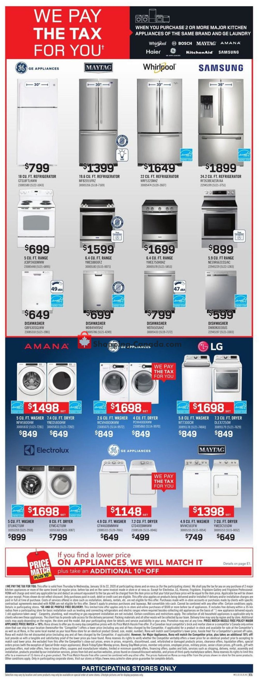 Flyer Rona Canada - from Thursday January 16, 2020 to Wednesday January 22, 2020