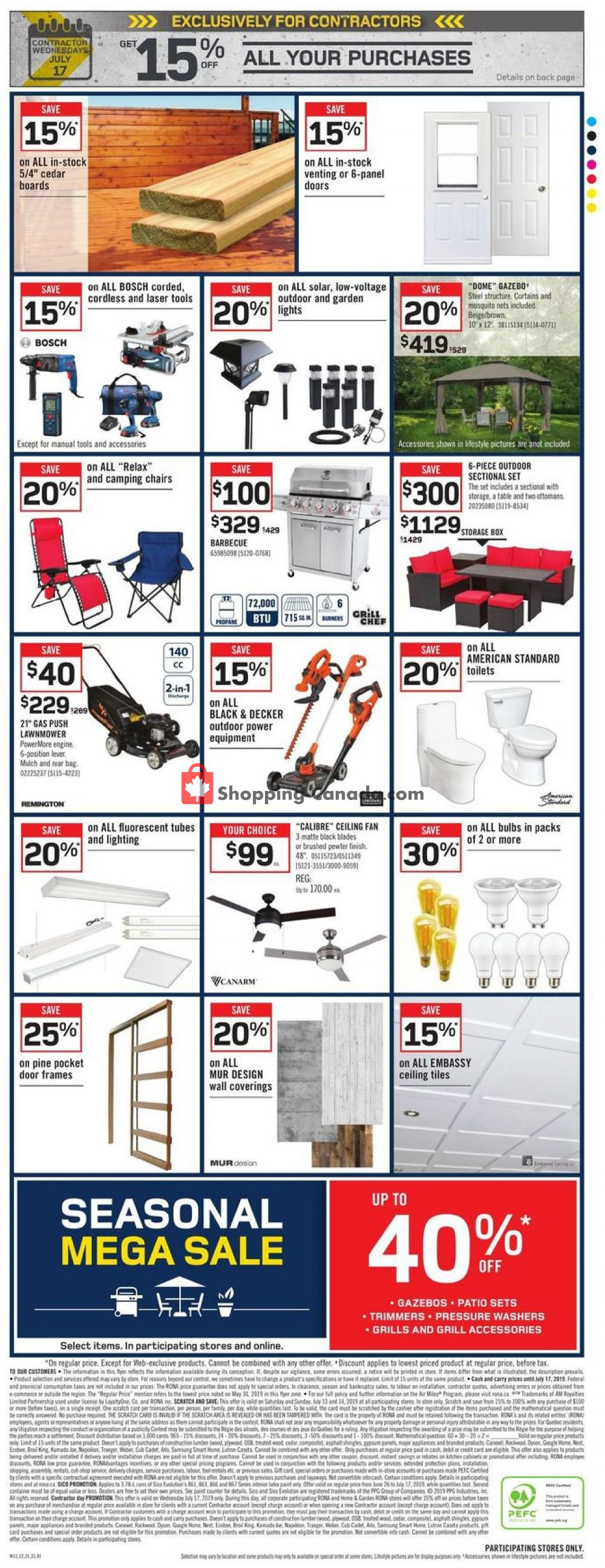Flyer Rona Canada - from Thursday July 11, 2019 to Wednesday July 17, 2019
