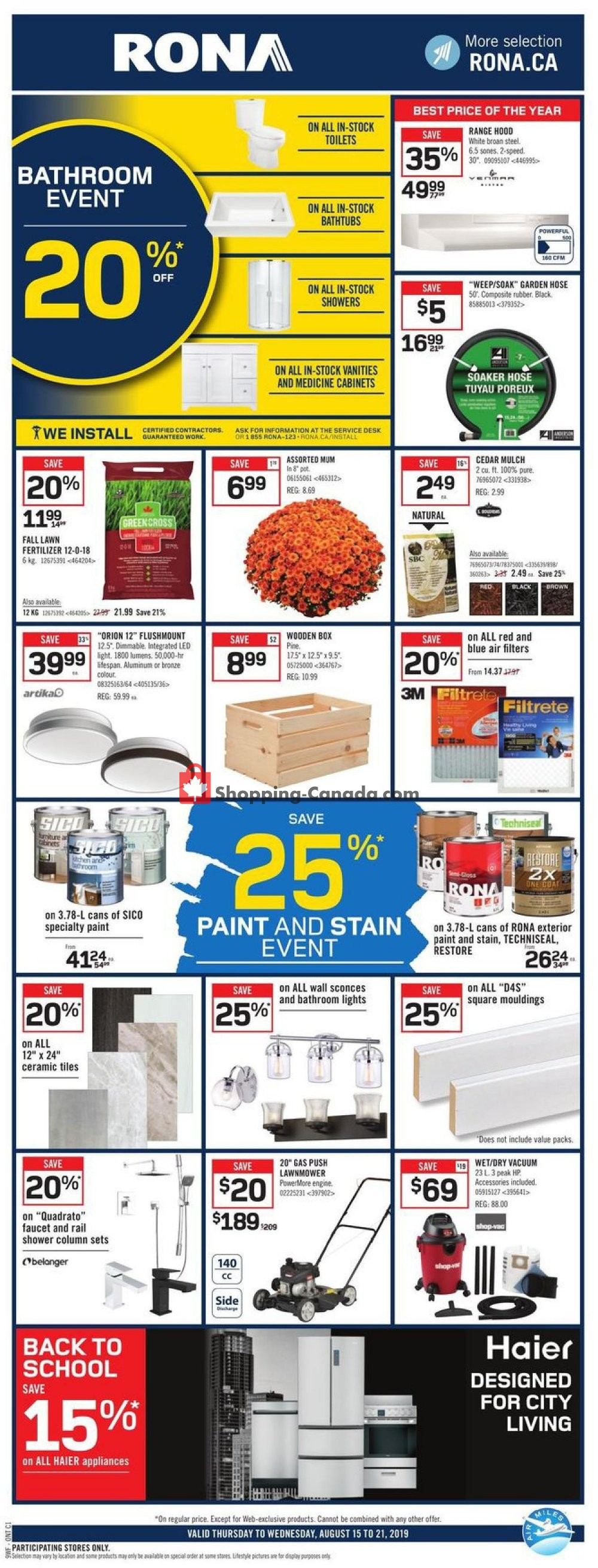 Flyer Rona Canada - from Thursday August 15, 2019 to Wednesday August 21, 2019