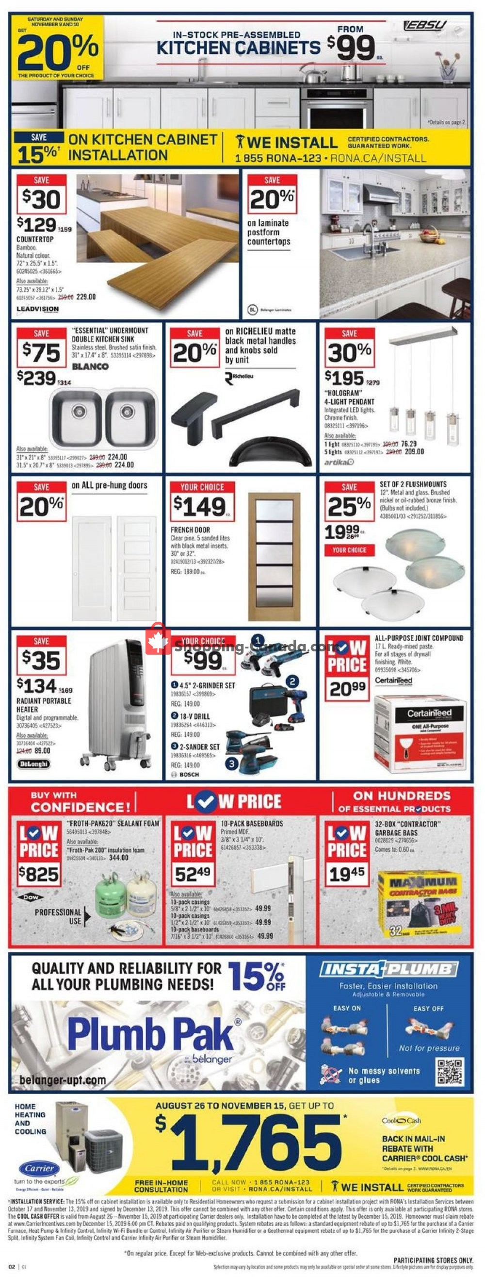 Flyer Rona Canada - from Thursday November 7, 2019 to Wednesday November 13, 2019