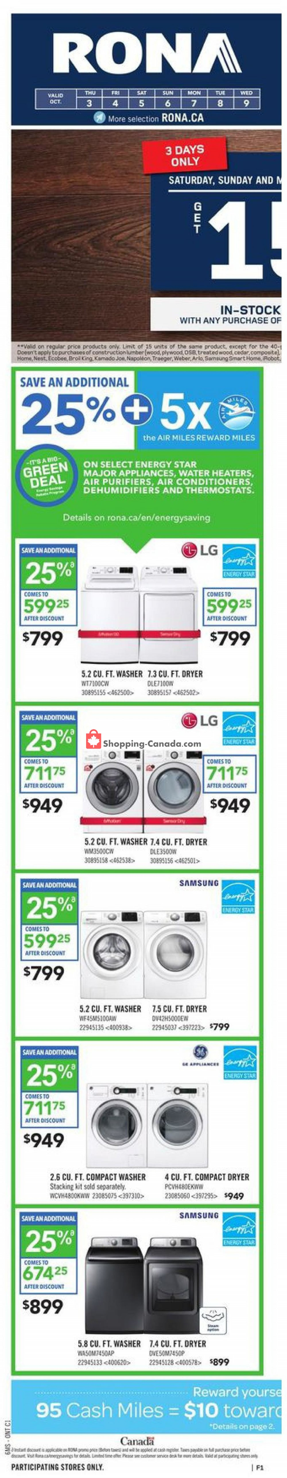 Flyer Rona Canada - from Thursday October 3, 2019 to Wednesday October 9, 2019