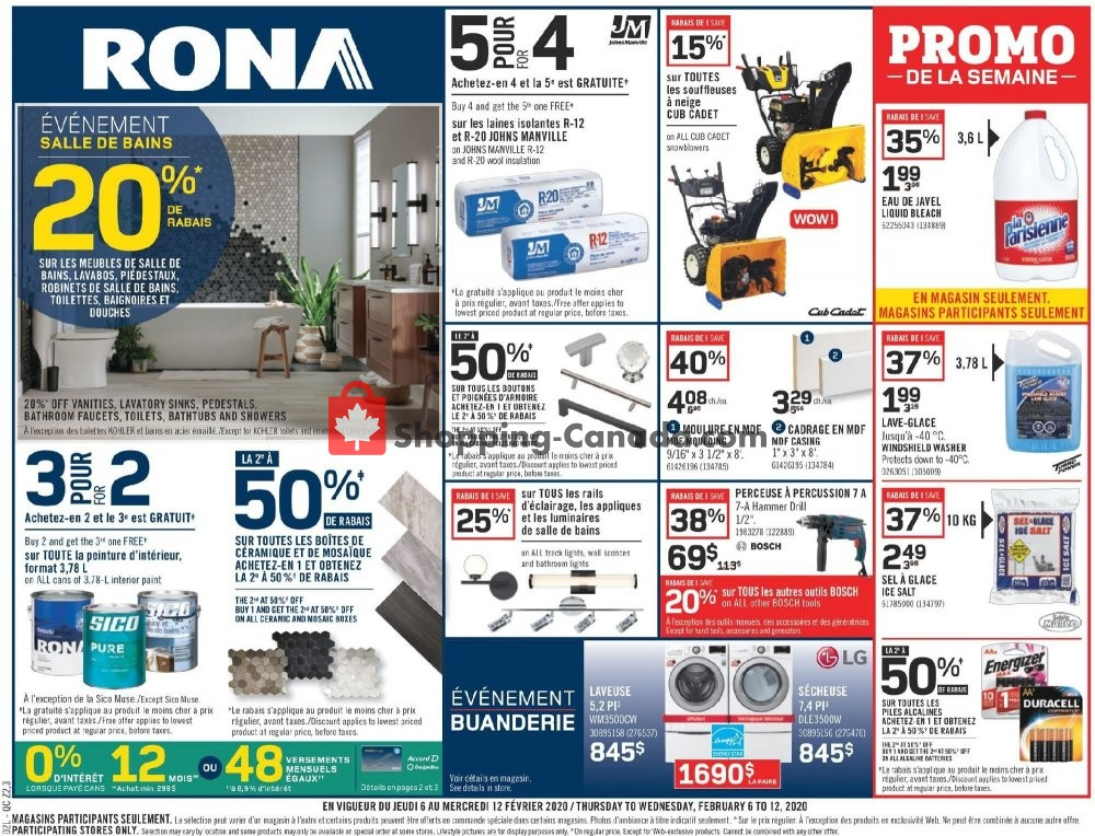 Flyer Rona Canada - from Thursday February 6, 2020 to Wednesday February 12, 2020
