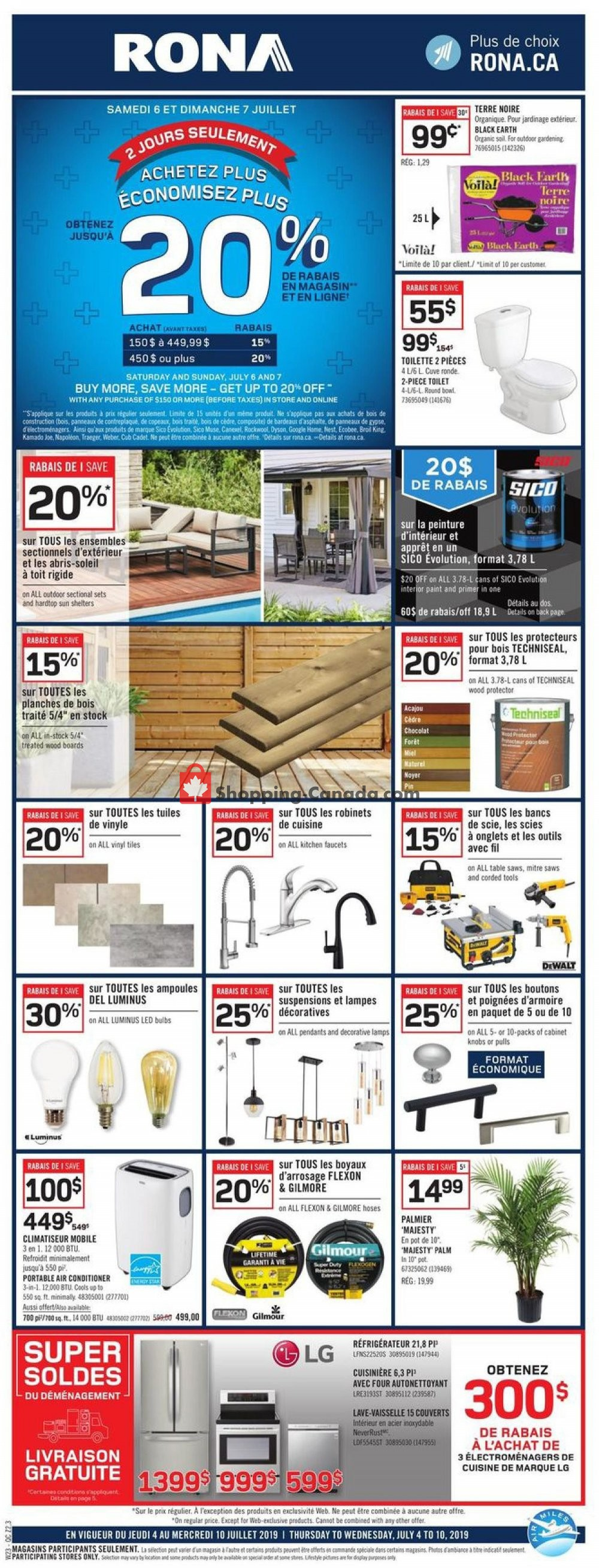 Flyer Rona Canada - from Thursday July 4, 2019 to Wednesday July 10, 2019