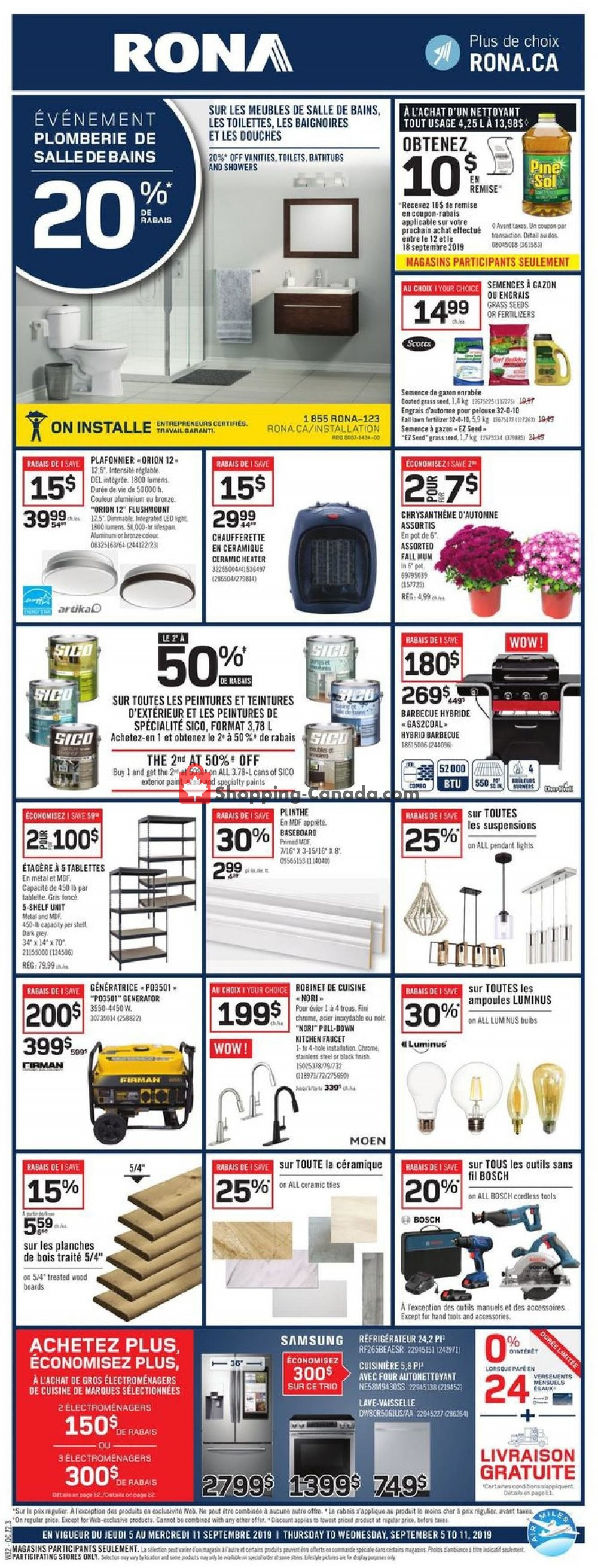 Flyer Rona Canada - from Thursday September 5, 2019 to Wednesday September 11, 2019
