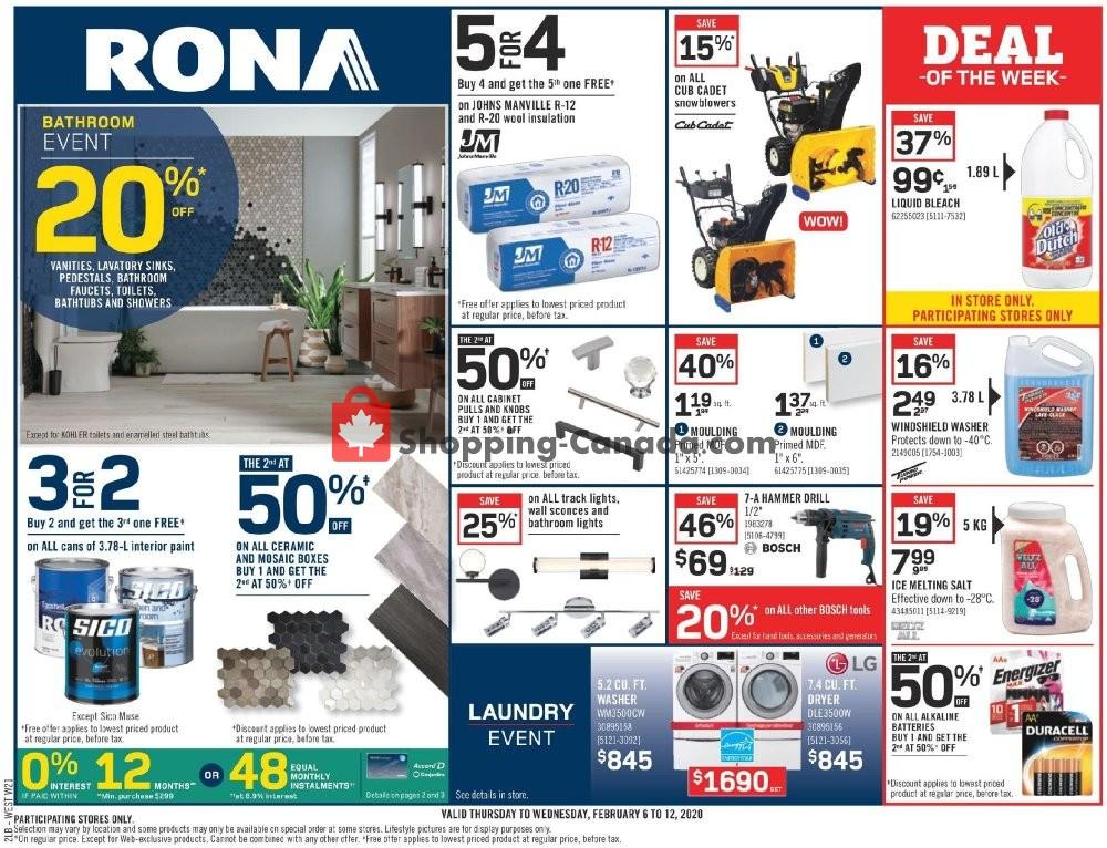 Flyer Rona Canada - from Thursday February 6, 2020 to Wednesday February 12, 2020