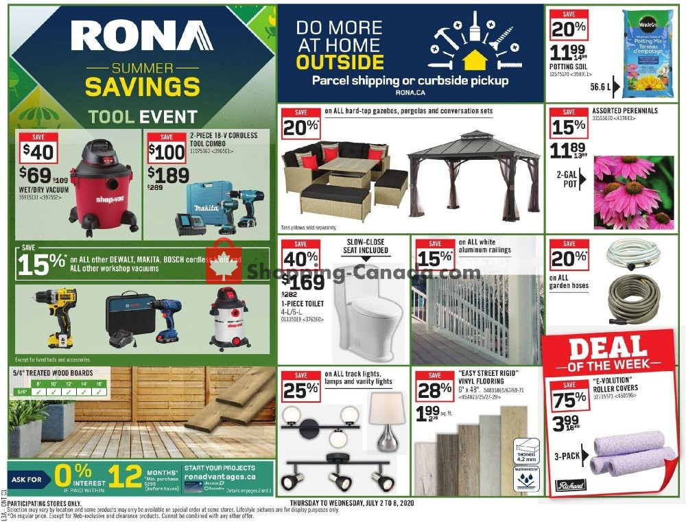 Flyer Rona Canada - from Thursday July 2, 2020 to Wednesday July 8, 2020