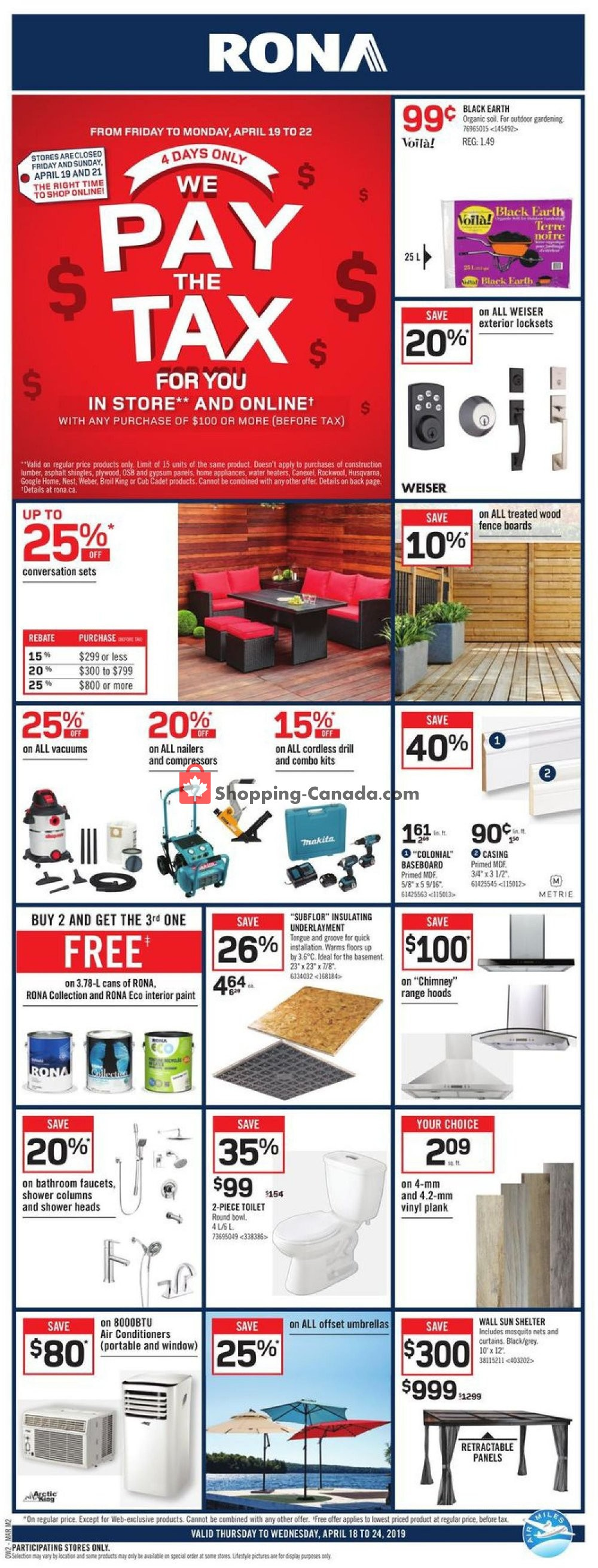 Flyer Rona Canada - from Thursday April 18, 2019 to Wednesday April 24, 2019