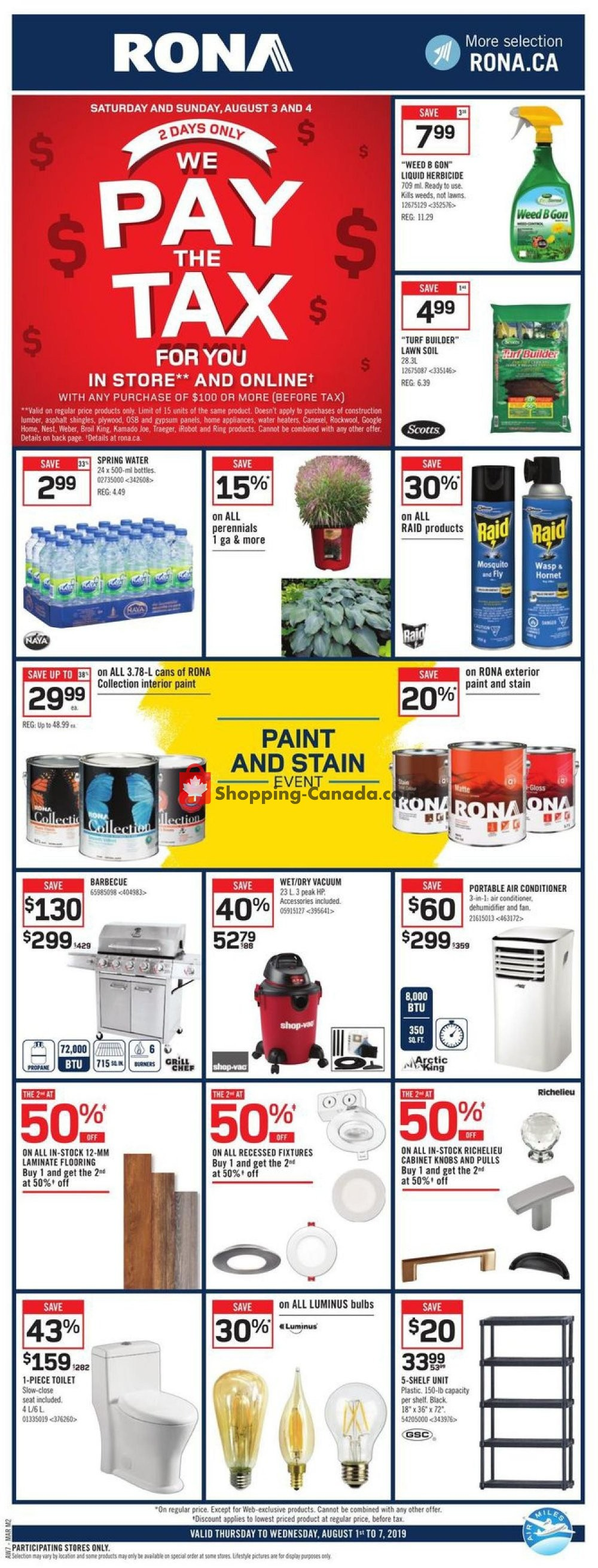 Flyer Rona Canada - from Thursday August 1, 2019 to Wednesday August 7, 2019