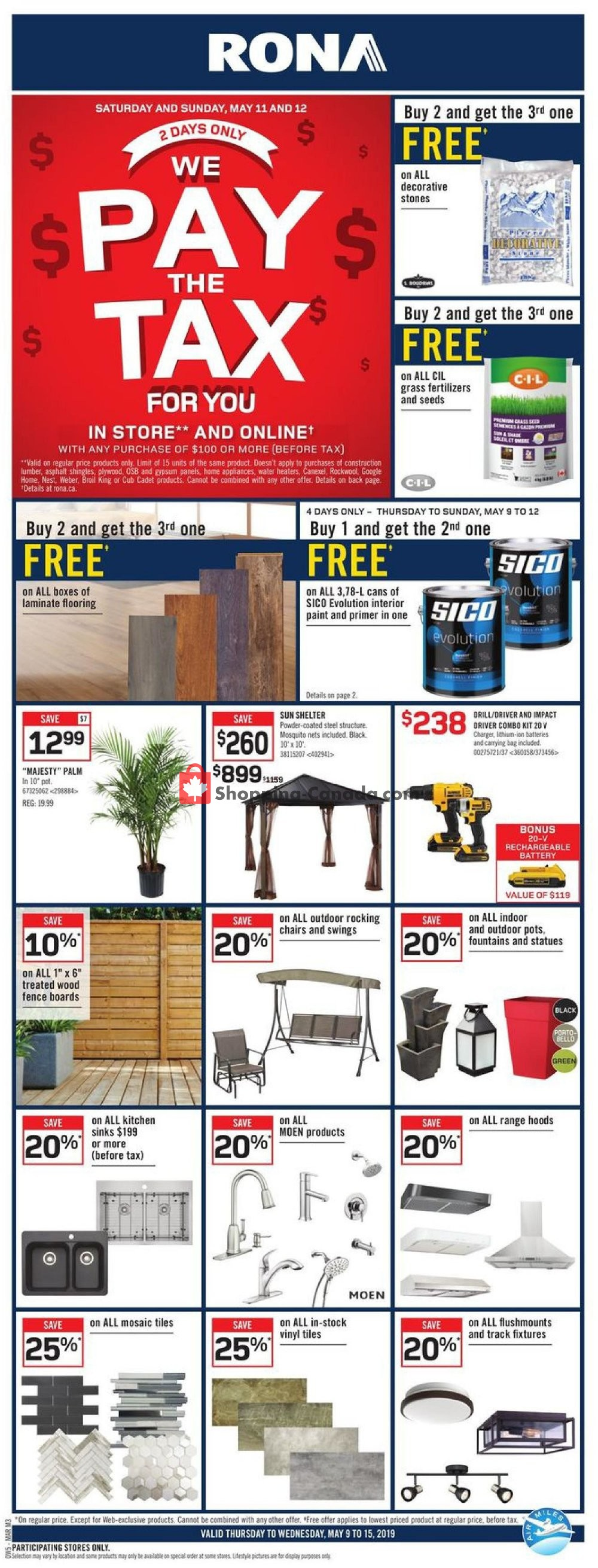 Flyer Rona Canada - from Thursday May 9, 2019 to Wednesday May 15, 2019