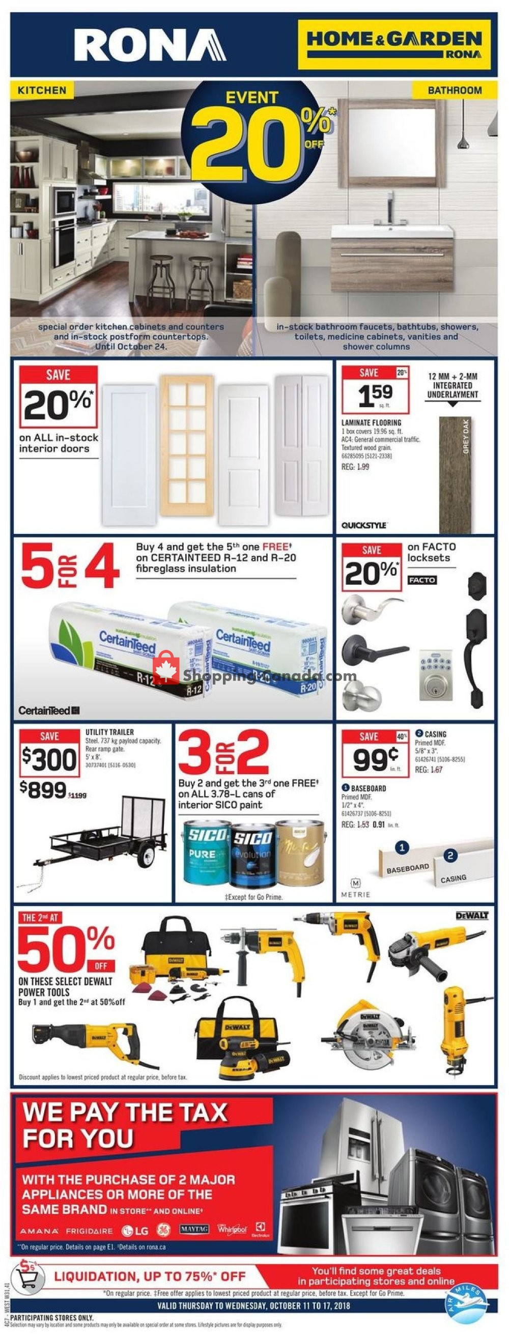 Flyer Rona Canada - from Thursday October 11, 2018 to Wednesday October 17, 2018