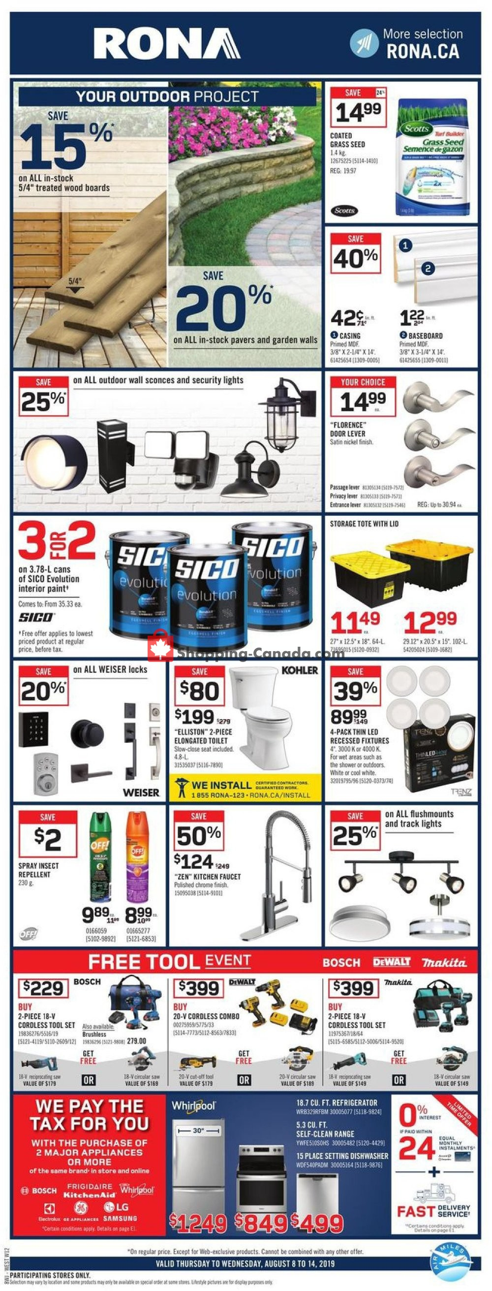 Flyer Rona Canada - from Thursday August 8, 2019 to Wednesday August 14, 2019