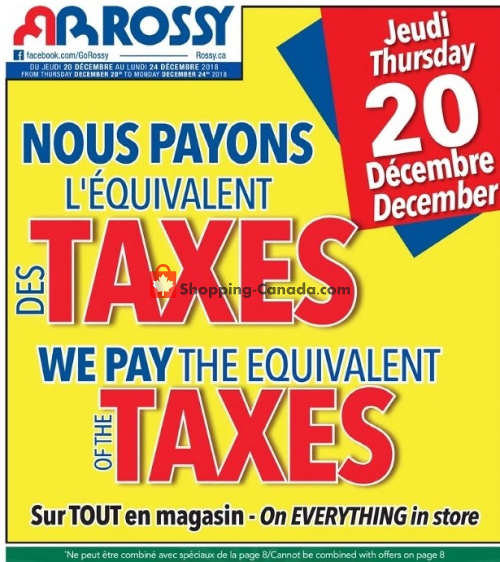 Flyer Rossy Canada - from Thursday December 20, 2018 to Monday December 24, 2018