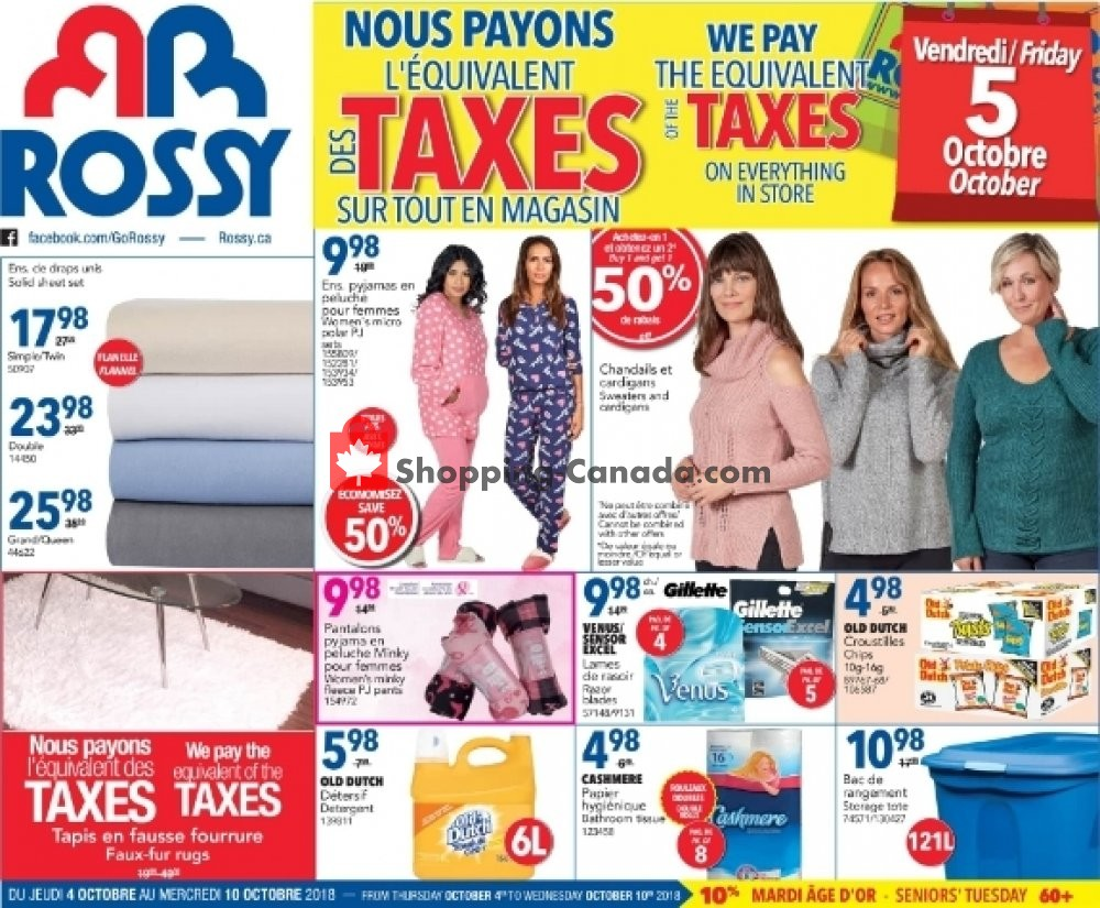 Flyer Rossy Canada - from Thursday October 4, 2018 to Wednesday October 10, 2018