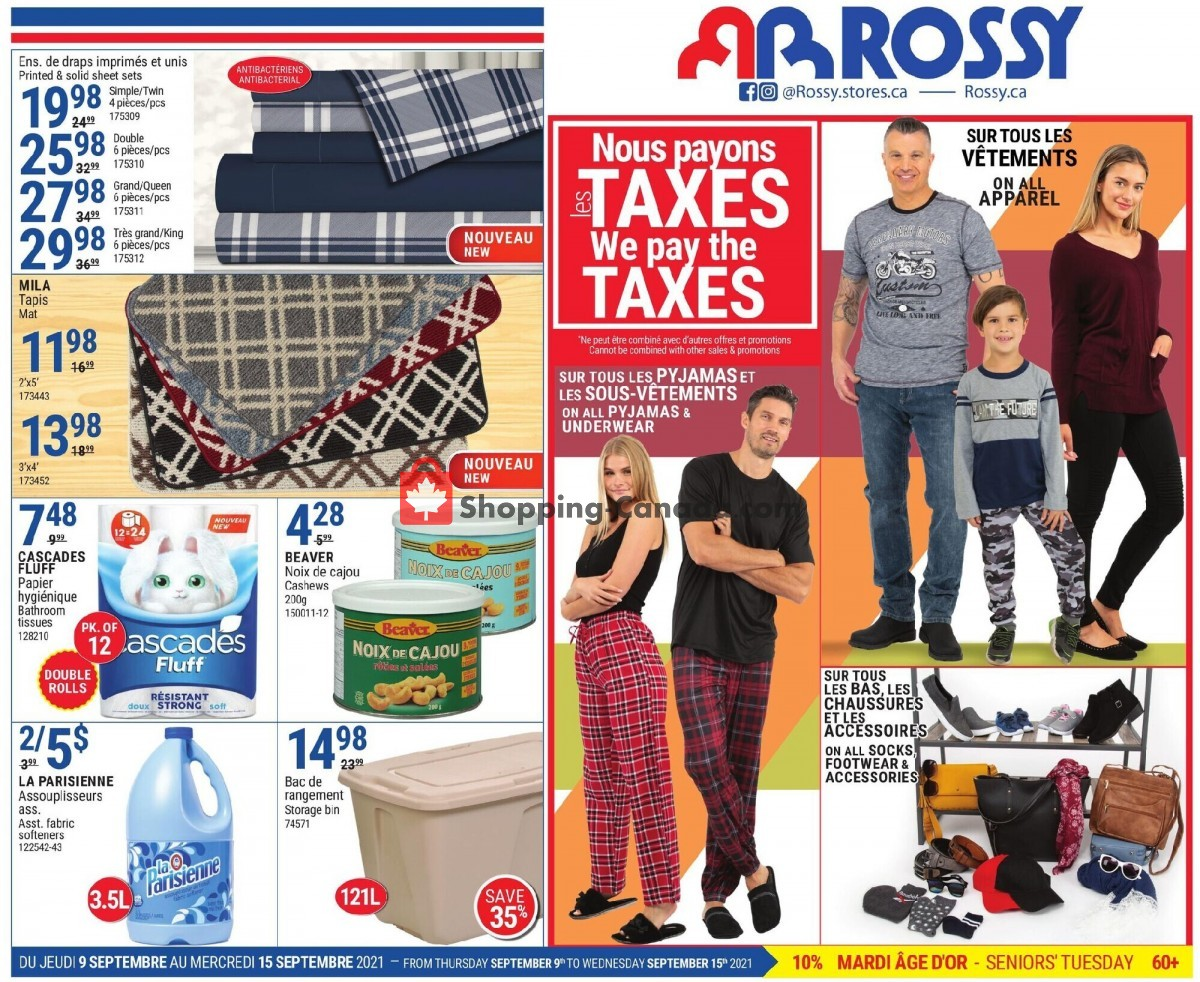 Flyer Rossy Canada - from Thursday September 9, 2021 to Wednesday September 15, 2021