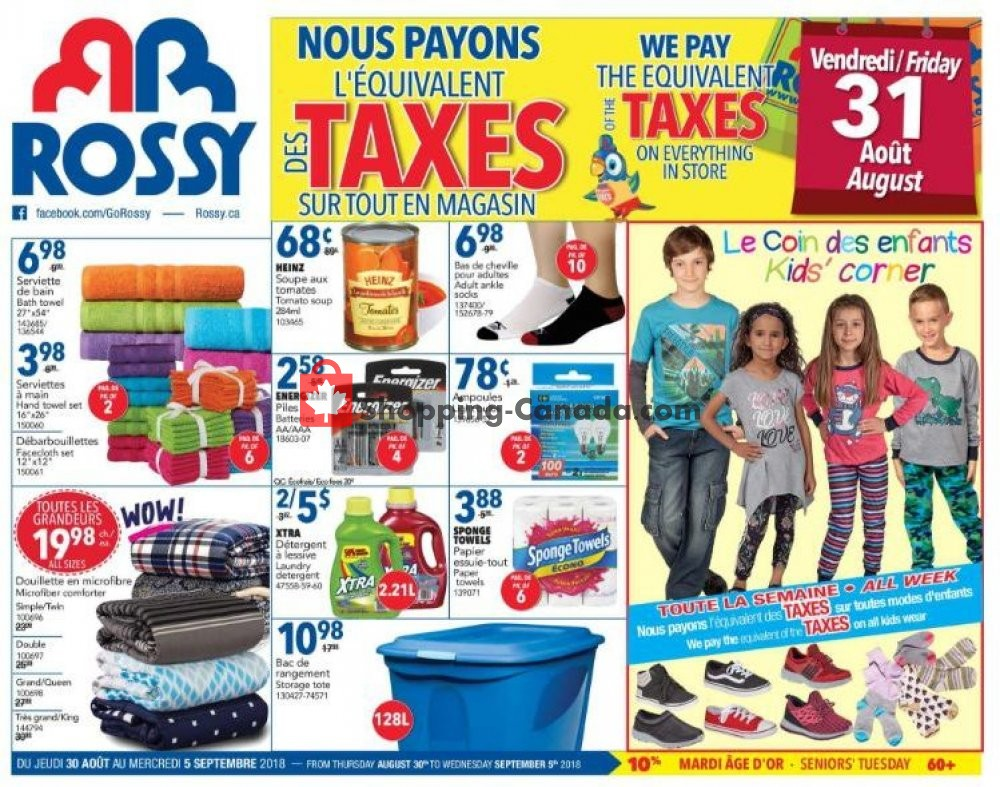 Flyer Rossy Canada - from Thursday August 30, 2018 to Wednesday September 5, 2018