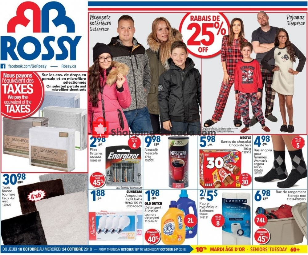 Flyer Rossy Canada - from Thursday October 18, 2018 to Wednesday October 24, 2018